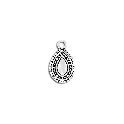 Metal pendant, 13x10mm, ethnic drop, zamak (zinc alloy), antique silver