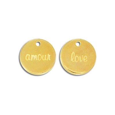 Metal pendant, 15mm, love/amour pendant, zink alloy (zamak), gold plate, nickel free