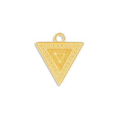Metal pendant, 17x16mm, ethnic, triangular, approx. hole size 1.80mm, zamak (zinc alloy), gold plate