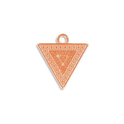 Metal pendant, 17x16mm, ethnic triangle charm, zamak (zinc alloy), rose gold