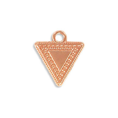 Metal pendants, 15x14mm, ethnic, triangle, zamak (zinc alloy), rose gold plate