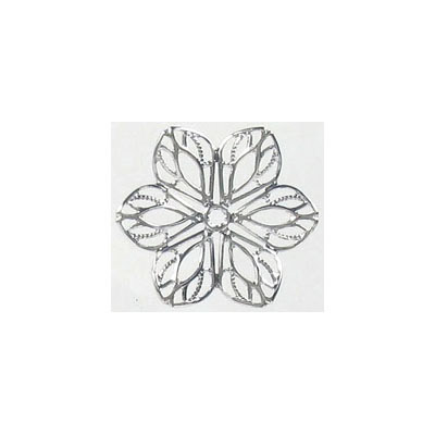 Metal pendant, filigree flower, 21mm, rhodium imitation