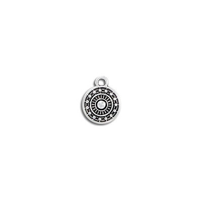 Metal pendant, 9mm, round, ethnic charm, zamak (zinc alloy), antique silver