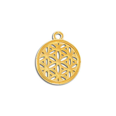 Metal pendant, 20mm, round, flower of life, zamak (zinc alloy), gold color