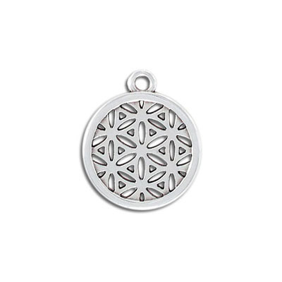 Metal pendant, flower of life, 20mm, round, zamak (zinc alloy), antique silver