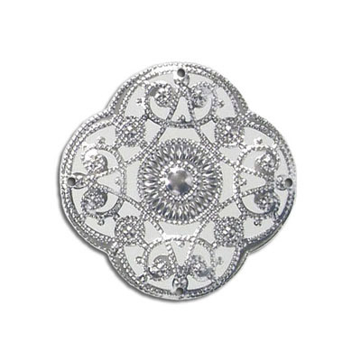 Metal pendant, filigree, 31mm, rhodium imitation
