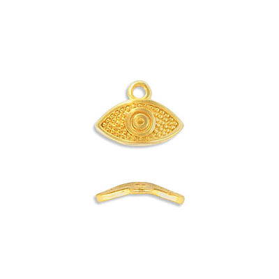 Metal pendant, 15x8mm, eye charm, zamak (zinc alloy), gold plate