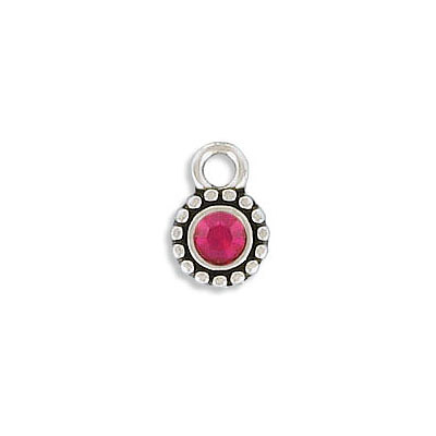 Metal pendant, 8mm, round, charm with setting for pp32 size stone, zamak, antique silver
