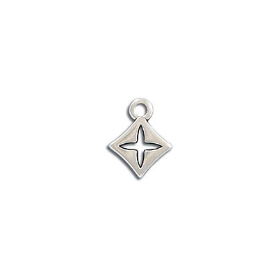 Metal pendant, 11mm, rhombus cross pendant, zamak (zinc alloy), antique silver