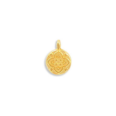 Metal pendant, 8mm, flower charm, zamak (zinc alloy), gold color