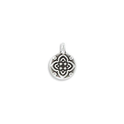 Metal pendant, 8mm, flower charm, zamak (zinc alloy), antique silver