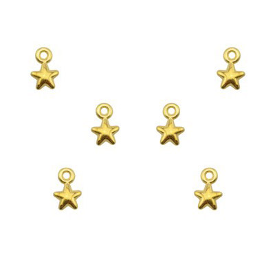 Metal pendants, star charm, 5mm, zamak (zinc alloy), gold plate