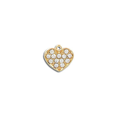Metal pendant, 12mm, heart charm, gold plate, with crystal