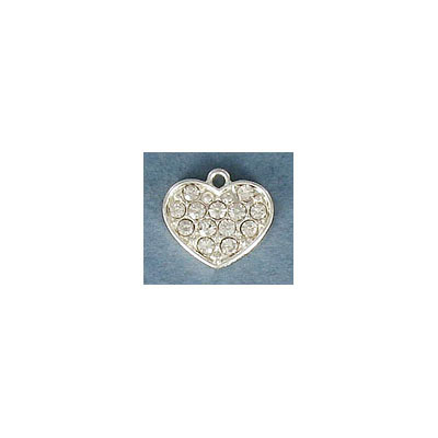 Metal pendant, 12mm, heart charm, silver plate, with crystal