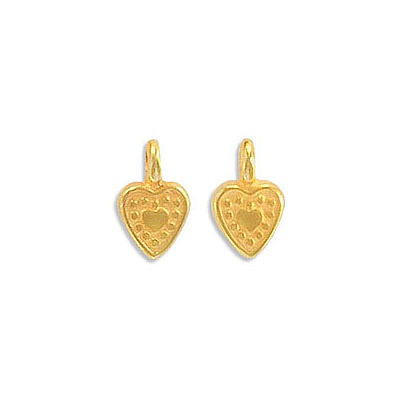 Metal pendants, 7x6mm, heart charm, zamak (zinc alloy), gold plate