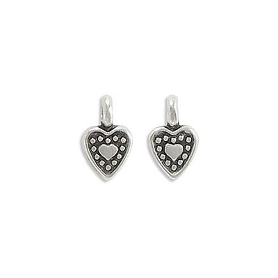 Metal pendants, 7x6mm, heart charm, zamak (zinc alloy), antique silver