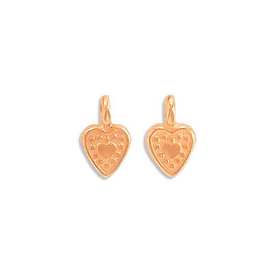 Metal pendants, 7x6mm, heart charm, zamak (zinc alloy), rose gold plate