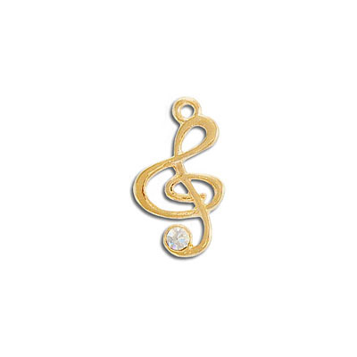 Metal pendant, 22mm, music note, gold plate, with crystal