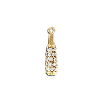 Metal pendant, 25mm, gold plate, with crystal