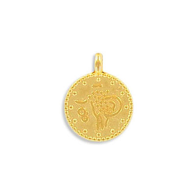 Metal pendant, 12mm, round, ethnic pendant, zamak (zinc alloy), gold color