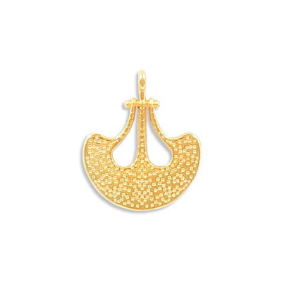 Metal pendant, 18mm, ethnic charm, zamak (zinc alloy), gold color
