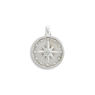 Metal pendant, 12mm, round, star, zamak (zinc alloy), antique silver