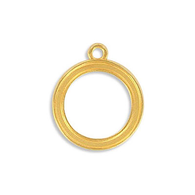 Metal pendants, 15mm, round frame, zamak (zinc alloy), gold plate