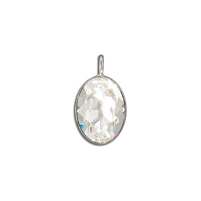 Metal pendant, Swarovski 4120 oval fancy stone, 18x13mm, crystal, rhodium plate. Exclusive to Frabels