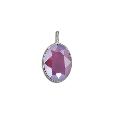Metal pendant, Swarovski 4120 oval fancy stone, 18x13mm, crystal dark red, rhodium plate. Exclusive to Frabels