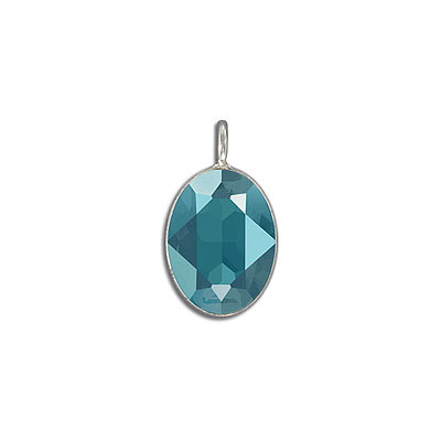 Metal pendant, Swarovski 4120 oval fancy stone, 18x13mm, crystal azure blue, rhodium plate. Exclusive to Frabels