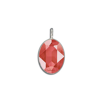 Metal pendant, Swarovski 4120 oval fancy stone, 18x13mm, crystal light coral, rhodium plate. Exclusive to Frabels