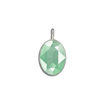 Metal pendant, Swarovski 4120 oval fancy stone, 18x13mm, crystal mint green, rhodium plate. Exclusive to Frabels