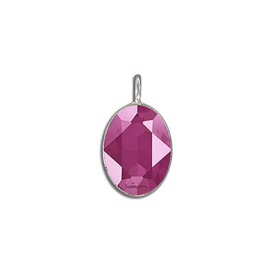 Metal pendant, Swarovski 4120 oval fancy stone, 18x13mm, crystal peony pink, rhodium plate. Exclusive to Frabels