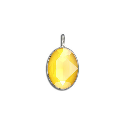 Metal pendant, with Swarovski crystal 4120, 18x13mm, crystal buttercup, rhodium plate