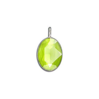 Metal pendant, with Swarovski crystal 4120, 18x13mm, crystal lime, rhodium plate