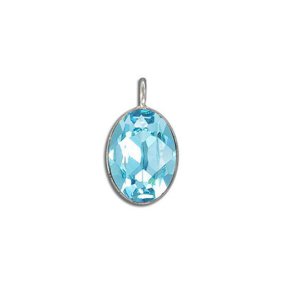 Metal pendant, Swarovski 4120 oval fancy stone, 18x13mm, light turquoise, rhodium plate. Exclusive to Frabels