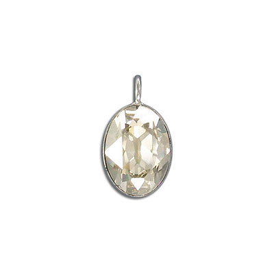 Metal pendant, Swarovski 4120 oval fancy stone, 18x13mm, crystal silver shade, rhodium plate. Exclusive to Frabels