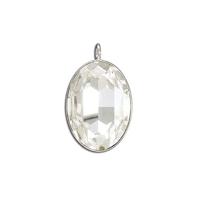 Metal pendant, Crystal Swarovski 4127, Fancy Oval Stone, 30x22mm, crystal, rhodium plate. Exclusive to Frabels.