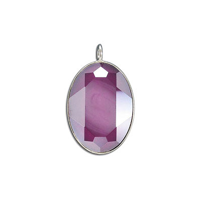 Metal pendant, Crystal Swarovski 4127, Fancy Oval Stone, 30x22mm, crystal dark red, rhodium plate. Exclusive to Frabels.