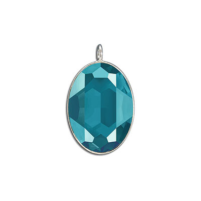 Metal pendant, Crystal Swarovski 4127, Fancy Oval Stone, 30x22mm, crystal azure blue, rhodium plate. Exclusive to Frabel
