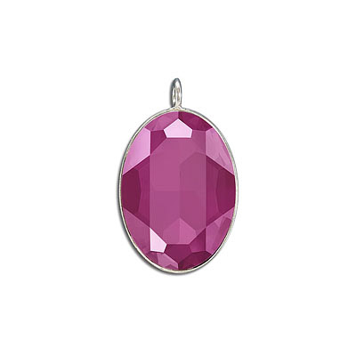 Metal pendant, Crystal Swarovski 4127, Fancy Oval Stone, 30x22mm, crystal peony pink, rhodium plate. Exclusive to Frabel