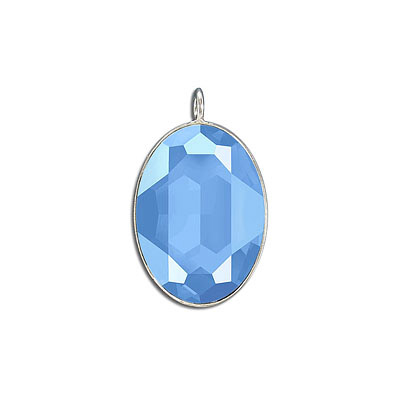Metal pendant, Crystal Swarovski 4127, Fancy Oval Stone, 30x22mm, crystal summer blue, rhodium plate. Exclusive to Frabe
