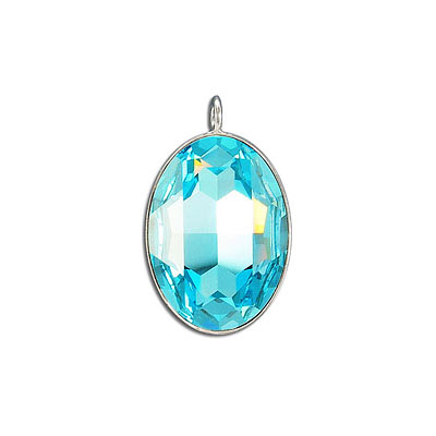 Metal pendant, Crystal Swarovski 4127, Fancy Oval Stone, 30x22mm, light turquoise, rhodium plate. Exclusive to Frabels.