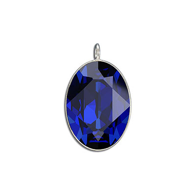 Metal pendant, Crystal Swarovski 4127, Fancy Oval Stone, 30x22mm, majestic blue, rhodium plate. Exclusive to Frabels.