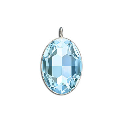 Metal pendant, Crystal Swarovski 4127, Fancy Oval Stone, 30x22mm, aquamarine, rhodium plate. Exclusive to Frabels.