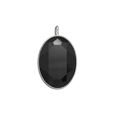Metal pendant, Crystal Swarovski 4127, Fancy Oval Stone, 30x22mm, jet, rhodium plate. Exclusive to Frabels.