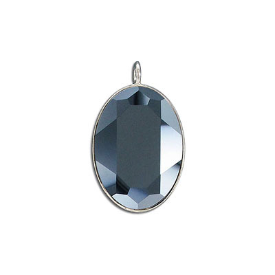 Metal pendant, Crystal Swarovski 4127, Fancy Oval Stone, 30x22mm, hematite, rhodium plate. Exclusive to Frabels.
