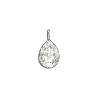 Metal pendant, Crystal Swarovski 4320, Fancy Pear, 14x10mm, crystal, rhodium plate. Exclusive to Frabels.