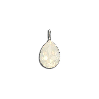 Metal pendant, Crystal Swarovski 4320, Fancy Pear, 14x10mm, white opal, rhodium plate. Exclusive to Frabels.