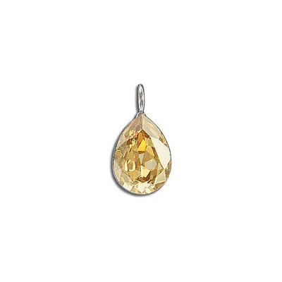 Metal pendant, Crystal Swarovski 4320, Fancy Pear, 14x10mm, crystal golden shadow, rhodium plate. Exclusive to Frabels.
